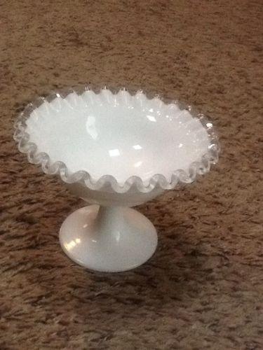 Vintage Fenton Hobnail White Scalloped  Candy Dish