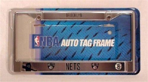 Chrome License Plate Frame - Brooklyn Nets