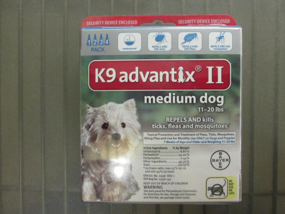 Bayer K9 Advantix II Medium Dogs 11-20 lbs Flea & Tick Treatment Free Shipping