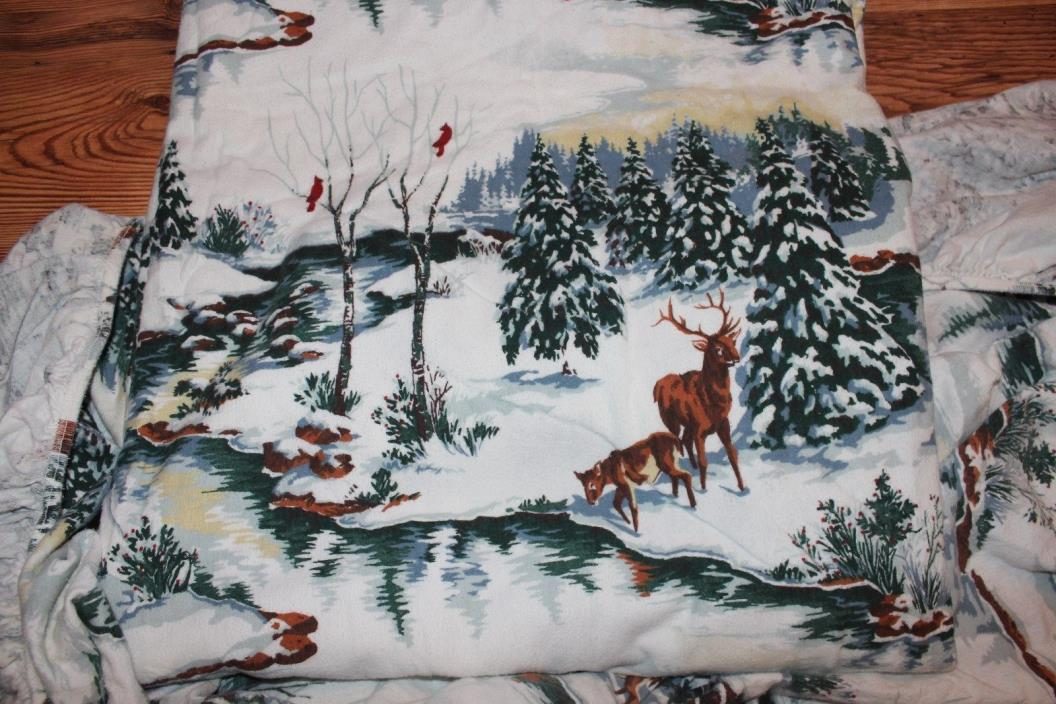 queen size flannel sheets fitted flat winter scene, deer pine trees cabin decor