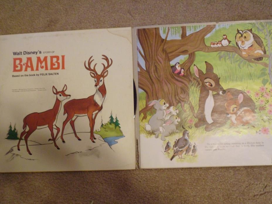 Disneyland Record Disney Bambi w Book LP Album Original Soundtrack