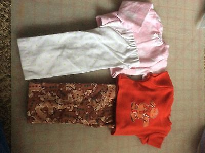 -SALE-18 Inch DOLL CLOTHES 2pair Of PJ's GINGERBREAD MAN & PINK & WHITE FLANNEL