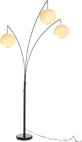 Adesso 4101-26 Spheres Arc 3-Light Floor Lamp with Rice-Paper Shades