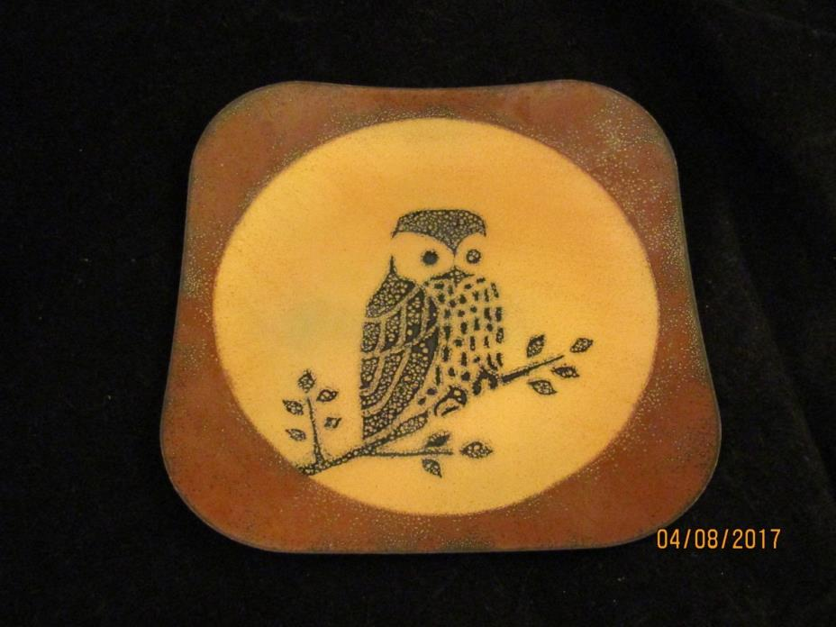 SIGNED EREN ENAMEL ON COPPER PIN TRAY DISH WITH OWL 1977 MID CENTURY MODERN