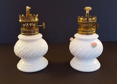 2 Miniature Milk Glass Oil Lamps - No Chimneys