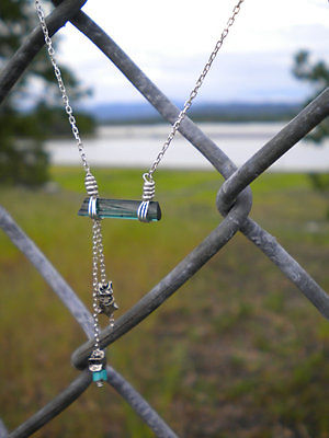 Handmade Raw Crystal Silver Blue Tourmaline Turquoise Wire Wrapped Necklace