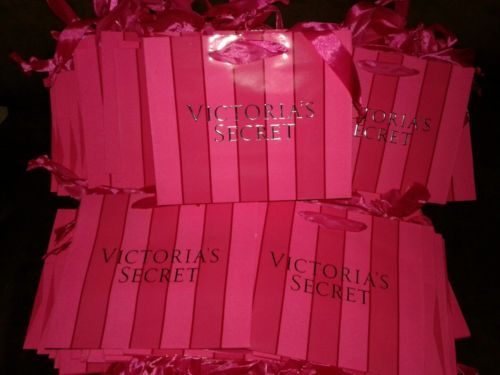 65 Victoria's Secret VS Small Gift  Bags with Ribbons 7.5 x 3.5 Pink Stripes