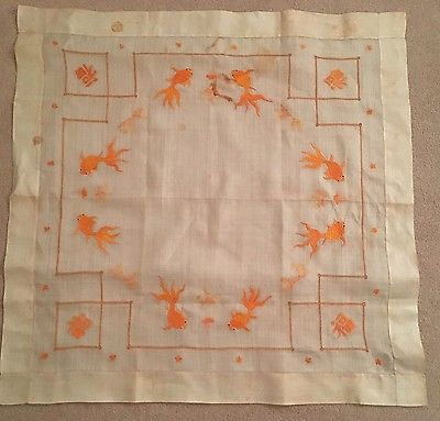 Antique Embroidered Gold Fish Linen Circa 1920 China * 3 piece set