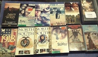 Lot of 12 VHS Video Tapes Movies historical dramas history adventure war other