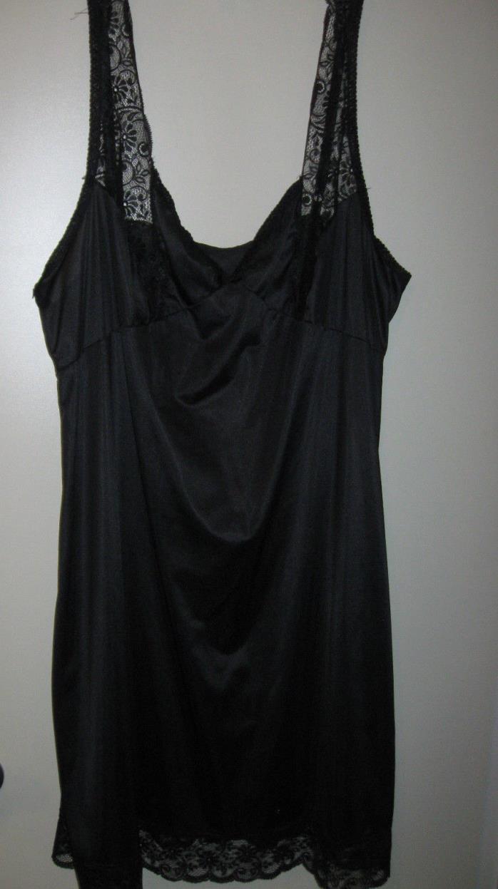BALI Black Lace Trim Full Slip Size 46 Antron III Nylon Adjustable Straps