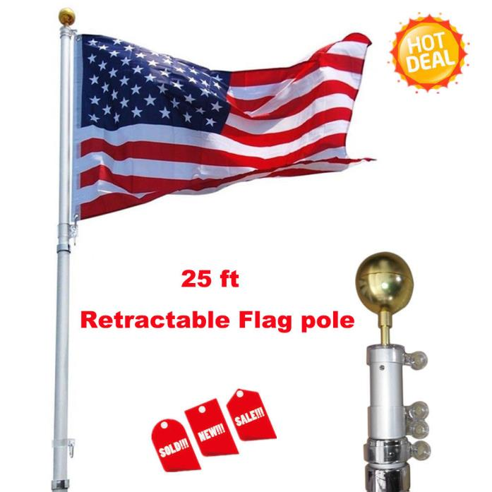 Silver America Flag 25ft Aluminum Alloy Retractable Flag pole Kit Outdoor