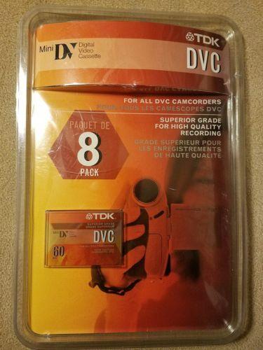 TDK DVC 60 MINUTE TAPE -DIGITAL VIDEO CASSETTE - SEALED 60 MIN 8 PACK DVC60 MINI