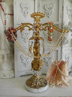 Fabulous VINTAGE CHERUB PUTTI Jewelry Holder~Crystal Prisms~Repurposed Scale