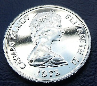 GEM   PROOF 1972 25 Cents CAYMAN ISLES 5.67g 24mm Seriously Low  Mintage 11,000