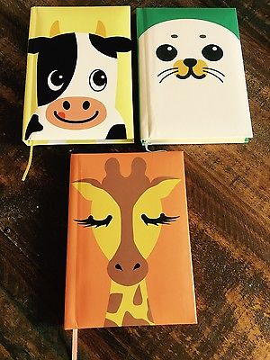 CUTE, Set of 3 Animal Blank Notebook/Journals! Great Gift!