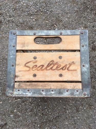 Vintage Wood Metal SEALTEST Food Milk Dairy Beverage Crate
