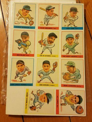 (11) Dover Reprint Baseball Cards 38' Goudey Joe DiMaggio Bob Feller Uncut Sheet