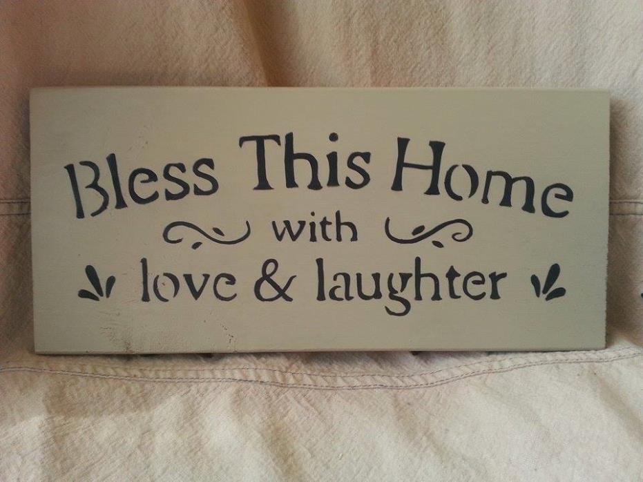home decor primitive sign bless this home with love laughter religious prayer