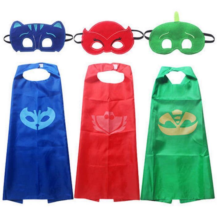 US Superhero PJ Masks Cape Set Gekko Owlette Catboy Kid Costume Party Child Gift