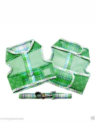 2 Pc Dog Harness & Leash -Plaid Cool Mesh Netted Green & Turquoise Doggie Design