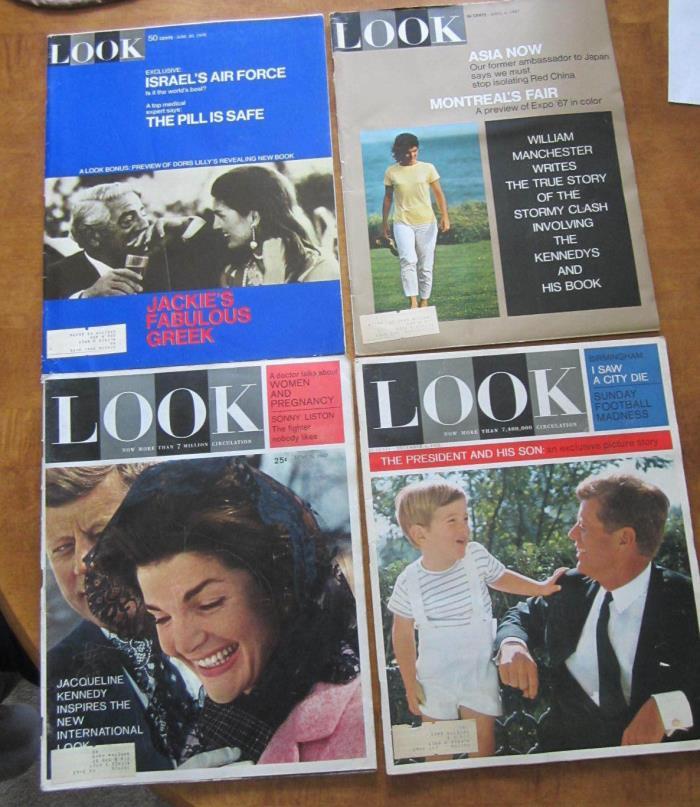 LOT 4 JOHN F KENNEDY 1962-63 LOOK MAGAZINES JFK Jackie President & His Son 1967+