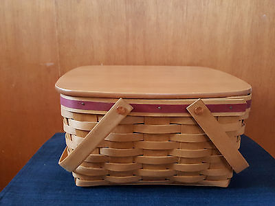 Longaberger 2003 Warm Brown Cake / Small Picnic Basket w/ Lid & Protector