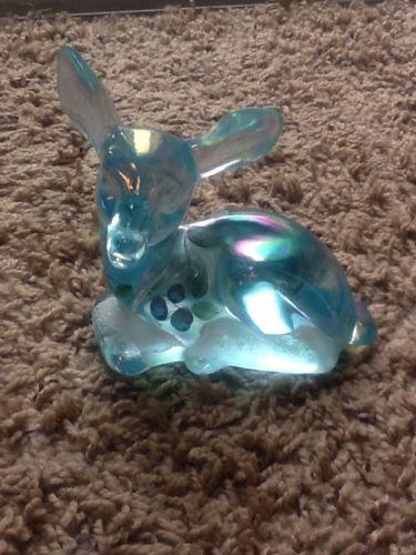Vintage Fenton Glass Hand Painted Deer Figurine Iridescent Light Blue