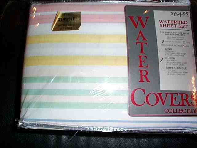 Vintage NOS NIP pastel stripes Queen Size Waterbed Sheets Set water covers brand