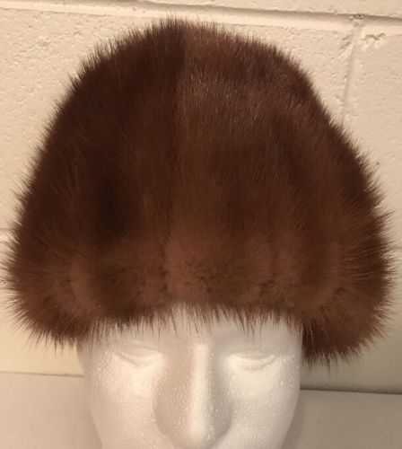 Vintage Doris New York Brown Mink Fur Hat Rare!