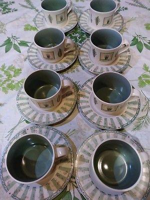 PFALTZGRAFF Naturewood coffee tea soup cup/mug matching saucer set of 8 MINT