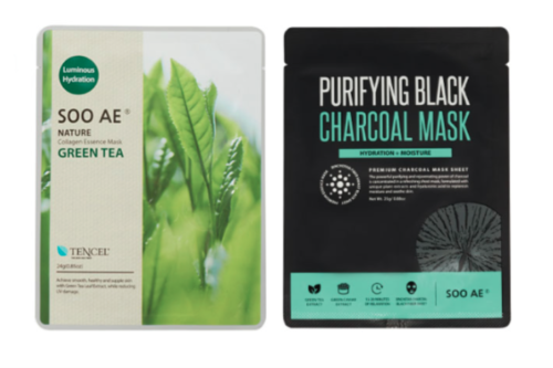Lot 2 SOO AE Sheet Masks - Purifying Black Charcoal & Nature Green Tea Collagen