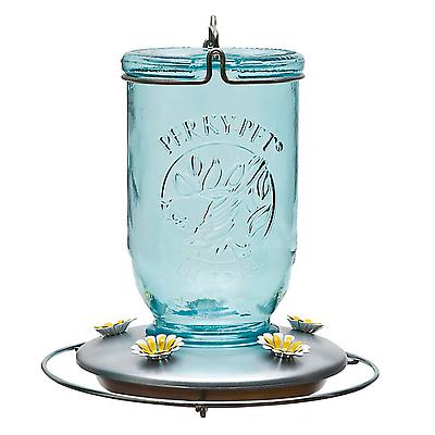Perky-Pet 785 Mason Jar Glass Hummingbird Feeder, 32 Oz Capacity, Blue Antique