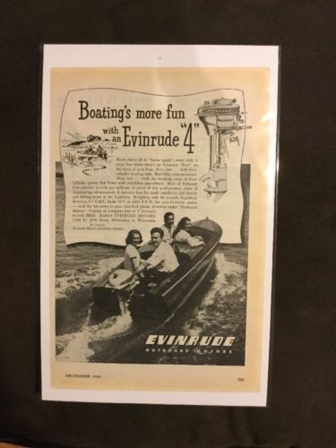 1946 Print Ad Evinrude Outboard Motors Boating's More Fun Ad