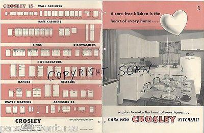 1954 CROSLEY Retro Modern Kitchen APPLIANCES Refrigerator Cabinets VTG Catalog