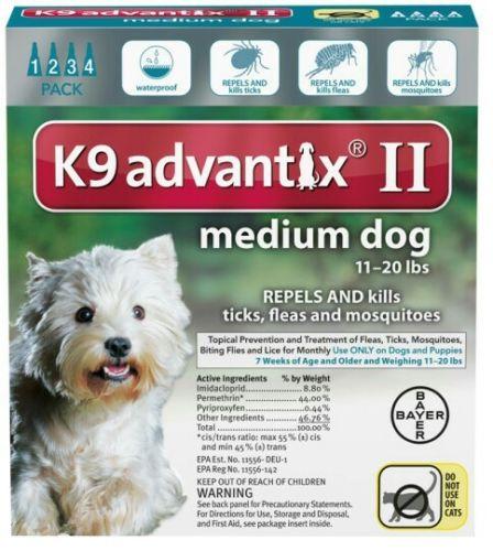 Bayer K9 Advantix II Fleas & Ticks Medicine Medium Size Dog 11-20 lb  (4 Pack)