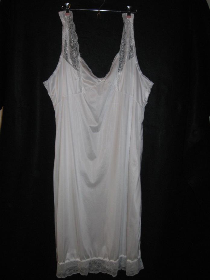 BALI White Lace Trim Full Slip Size 46 Antron III Nylon Adjustable Straps