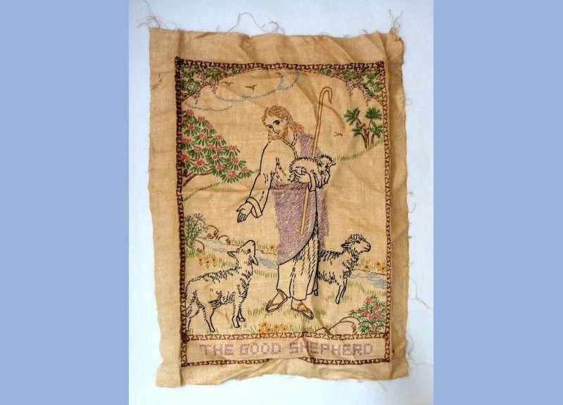 vintage CROSS STITCH SAMPLER religious GOOD SHEPHERD christian jesus lamb sheep