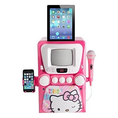 Hello Kitty CD Karaoke System with Screen, Pink/White