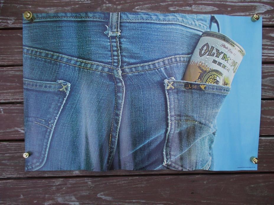 Large vintage OLYMPIA BEER / LEE Denim Jeans poster