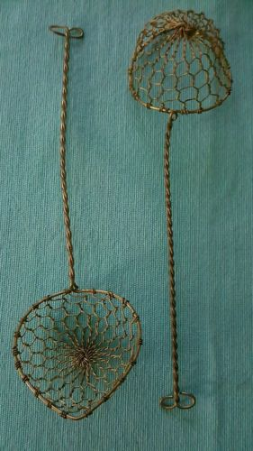 Set of 2 Primitive Antique Early Kitchen Wares Brass Wire Tea Strainer Infuser