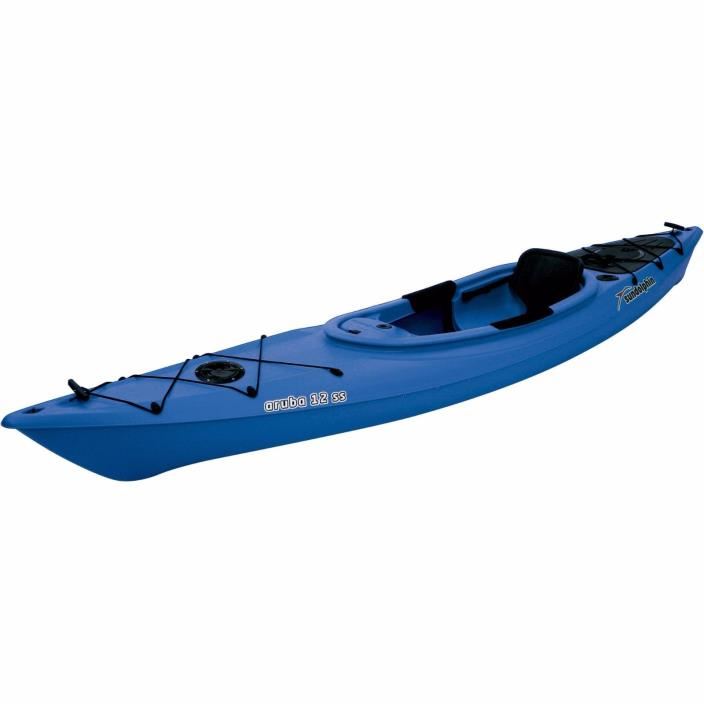 Blue, Kayak Sit-In 12' with Bonus Paddle Adjustable Foot Braces Covered Console