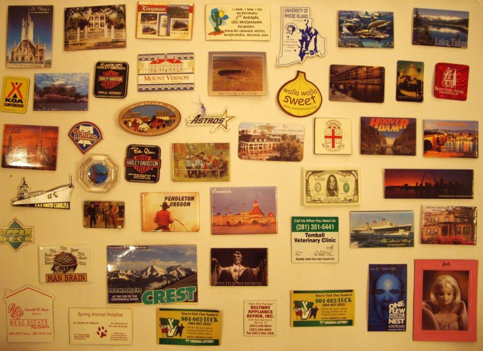 (47)  DIFFERENT  FRIDGE  MAGNETS, FROM INTERESTING PLACES IN THE USA, MINT