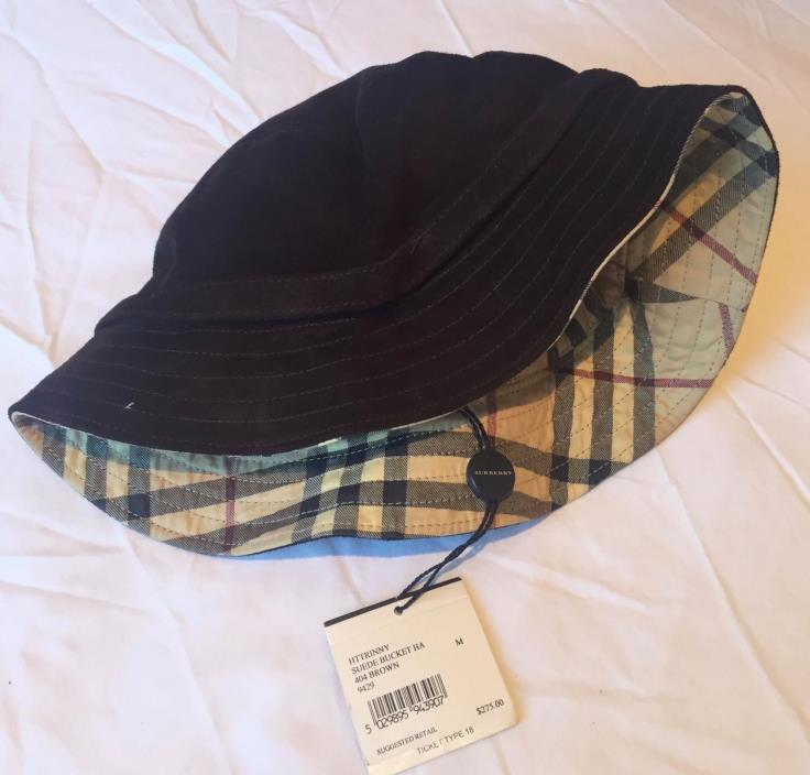 Authentic BURBERRY Bucket Hat Suede Brown Size M