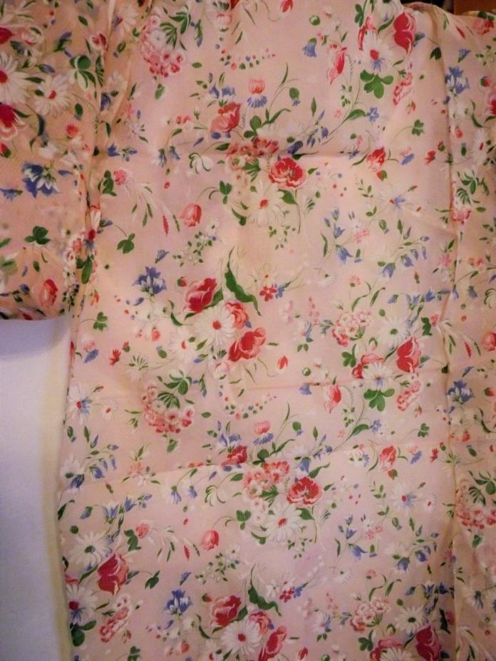 Vintage Stiff Organdy Floral Fabric Soft Pink Background  6 Yd by 35