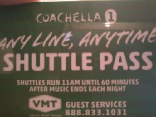 coachella weekend 1 shuttle passes April 14-16 any line