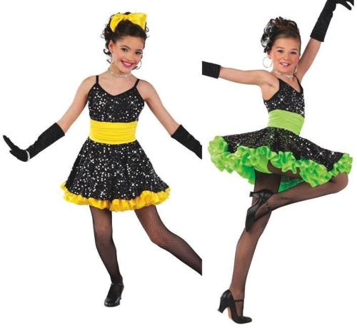 Dance Costume XL Child 14 Sequin Dress Yellow Green DUET Competition Glitz