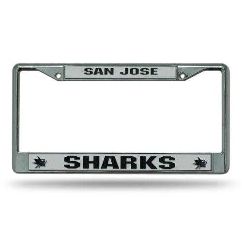 Chrome License Plate Frame - San Jose Sharks