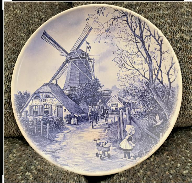 BLUE DELFT PLATE HOUSE WINDMILL HORSE & CART CHILD & BUGGY HOLLAND