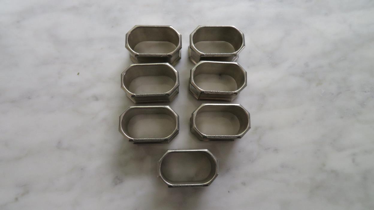 Set of 7 Gorham Octette Pewter PH 73 Napkin Rings Octagonal Oval Inside 2