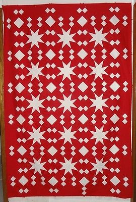 Red & White Floating Star~100% Kona Cotton Handmade Quilt Top 51